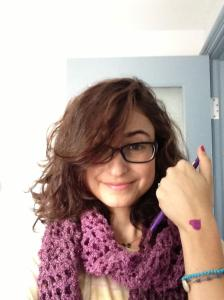 @SarahChoueiry rocking the purple scarf & heart today #PurpleChallenge